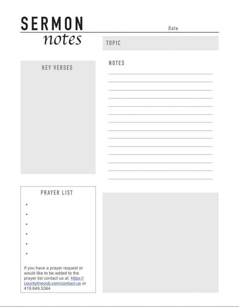 Sermon notes printable that you can print and use to take notes